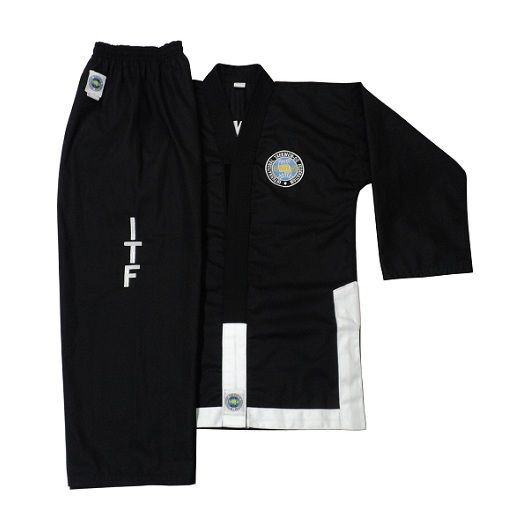 ITF Black Dobok with White Trim