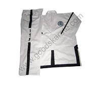 ITF White Dobok with Fully Black Trim