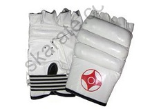 WHITE KARATE MITT LEATHER